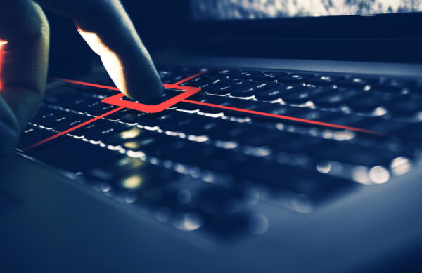Keylogger Computer Spy Concept. Recording Each Keyboard Button Strike.